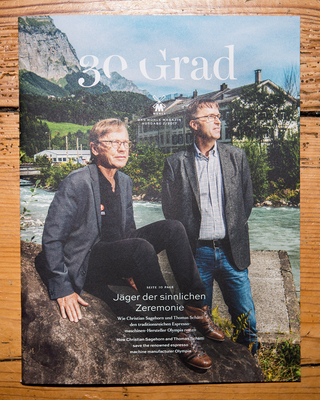 Editorial. 30 Grad Magazine. Cover story about the traditional espresso machines producer Olympia.